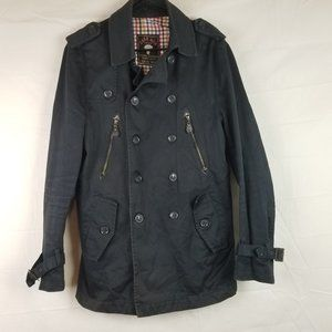 ZARA MAN Sz M PEACOAT JACKET MILITARY COAT